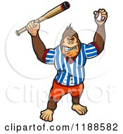 Clipart Of An Aggressive Baseball Gorilla Royalty Free Vector Illustration by Vector Tradition SM