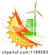 Clipart Of A Green Building With A Wind Turbine Bolt And Sun Royalty Free Vector Illustration