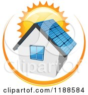 Clipart Of A House With A Solar Panel Roof And Sun Royalty Free Vector Illustration