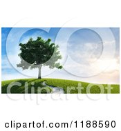 3d Lush Tree On A Hill With A Path And Sunshine