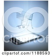 Clipart Of A 3d Shopping Cart Hovering Over A Cell Phone With Bright Light Royalty Free CGI Illustration