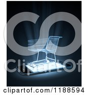 Clipart Of A 3d Shopping Cart On A Cell Phone With Bright Light Royalty Free CGI Illustration