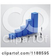 Clipart Of A 3d Blue Bar Graph With Tiny People On Gray Royalty Free CGI Illustration