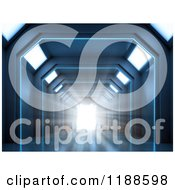 Clipart Of A 3d Futuristic Hallway With Bright Light Royalty Free CGI Illustration