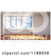 Clipart Of A 3d Room Interior With Wood Floors And Large Windows Viewing A Sky Royalty Free CGI Illustration by Mopic