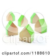 3d Wooden Houses With Green Sides