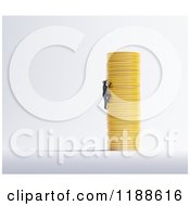 Clipart Of A 3d Man Climbing A Stack Of Gold Coins On Gray Royalty Free CGI Illustration
