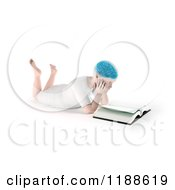 Clipart Of A 3d Child With A Visible Brain Reading A Book On The Floor Royalty Free CGI Illustration by Mopic