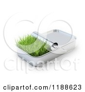 Clipart Of A Patch Of Grass In A 3d Sardine Can Royalty Free CGI Illustration