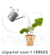 Clipart Of A 3d Watering Can Pouring Over An Arrow Bush Royalty Free CGI Illustration