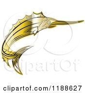 Clipart Of A Gold Swordfish Royalty Free Vector Illustration