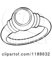 Clipart Of A Black And White Wedding Ring Royalty Free Vector Illustration by Lal Perera