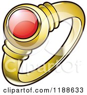 Clipart Of A Gold Wedding Ring With A Red Ruby Royalty Free Vector Illustration by Lal Perera