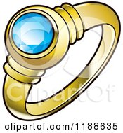 Clipart Of A Gold Wedding Ring With A Blue Diamond Royalty Free Vector Illustration by Lal Perera