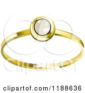 Clipart Of A Gold Ring With A Pearl Royalty Free Vector Illustration by Lal Perera