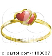 Clipart Of A Gold Wedding Ring With Red Ruby Hearts Royalty Free Vector Illustration by Lal Perera