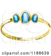 Clipart Of A Gold Wedding Ring With Blue Diamonds Royalty Free Vector Illustration by Lal Perera
