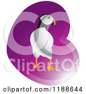 Clipart Of A Puffin Bird Over A Purple Heart Royalty Free Vector Illustration by Lal Perera