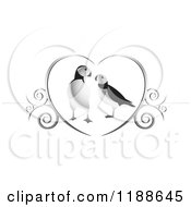 Clipart Of A Puffin Pair In A Silver Heart With Swirls Royalty Free Vector Illustration by Lal Perera