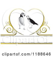 Clipart Of A Puffin Pair Over A Gold Heart With Swirls Royalty Free Vector Illustration by Lal Perera