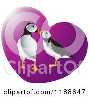 Clipart Of A Puffin Pair Over A Purple Heart Royalty Free Vector Illustration by Lal Perera