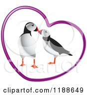Clipart Of A Puffin Pair In A Purple Heart Royalty Free Vector Illustration by Lal Perera