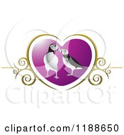 Clipart Of A Puffin Pair Over A Purple Heart With Gold Swirls Royalty Free Vector Illustration by Lal Perera