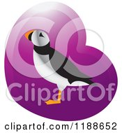 Clipart Of A Puffin Bird Over A Purple Heart 2 Royalty Free Vector Illustration by Lal Perera