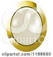 Clipart Of An Oval White Pearl In A Gold Setting Royalty Free Vector Illustration by Lal Perera