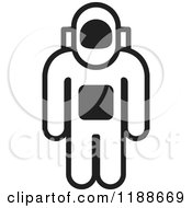 Clipart Of A Black And White Astronaut Icon Royalty Free Vector Illustration