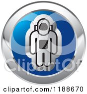 Clipart Of A Silver Astronaut On A Blue Round Icon Royalty Free Vector Illustration