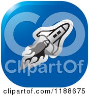 Clipart Of A Square Silver And Blue Rocket Shuttle Icon Royalty Free Vector Illustration
