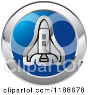 Clipart Of A Silver Space Shuttle Over A Blue Circle Icon Royalty Free Vector Illustration