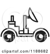 Clipart Of A Black And White Space Rover Icon Royalty Free Vector Illustration by Lal Perera