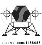 Clipart Of A Black And White Robotic Spacecraft Icon Royalty Free Vector Illustration