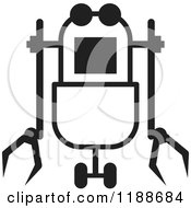 Clipart Of A Black And White Rover Robot Icon Royalty Free Vector Illustration by Lal Perera
