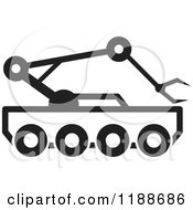 Clipart Of A Black And White Outer Space Rover Icon Royalty Free Vector Illustration by Lal Perera
