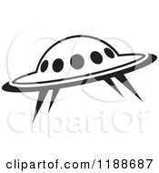 Clipart Of A Black And White UFO Icon Royalty Free Vector Illustration by Lal Perera