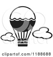 Clipart Of A Black And White Hot Air Balloon Icon Royalty Free Vector Illustration by Lal Perera