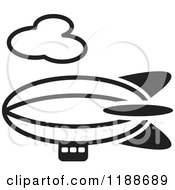 Clipart Of A Black And White Air Ship Icon Royalty Free Vector Illustration by Lal Perera