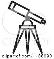Clipart Of A Black And White Telescope Icon Royalty Free Vector Illustration