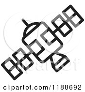 Clipart Of A Black And White Space Satellite Icon Royalty Free Vector Illustration