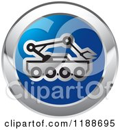 Clipart Of A Round Blue And Silver Outer Space Rover Icon Royalty Free Vector Illustration by Lal Perera