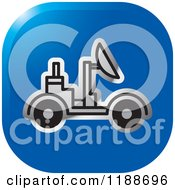 Clipart Of A Square Blue And Silver Space Rover Icon Royalty Free Vector Illustration by Lal Perera