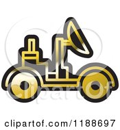 Clipart Of A Black And Gold Space Rover Icon Royalty Free Vector Illustration