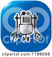 Clipart Of A Square Blue And Silver Rover Robot Icon Royalty Free Vector Illustration by Lal Perera