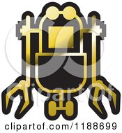 Clipart Of A Black And Gold Rover Robot Icon Royalty Free Vector Illustration by Lal Perera