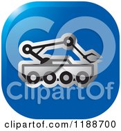 Clipart Of A Square Blue And Silver Outer Space Rover Icon Royalty Free Vector Illustration by Lal Perera