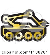 Clipart Of A Black And Gold Outer Space Rover Icon Royalty Free Vector Illustration