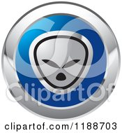 Clipart Of A Round Silver And Blue Alien Icon Royalty Free Vector Illustration by Lal Perera